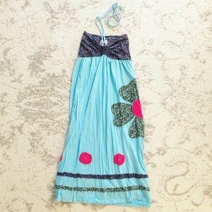 Boho turquoise & purple knit flower midi dress